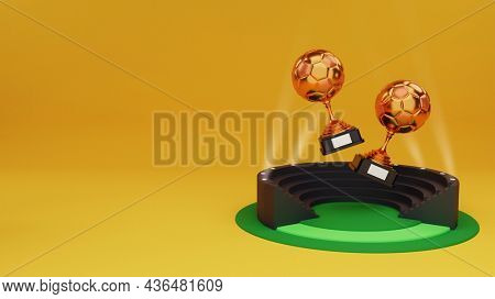 3D Render Of Two Bronze Trophy Cup Over Stadium Seat Background And Copy Space.