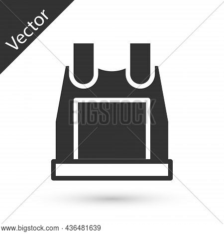 Grey Bulletproof Vest For Protection From Bullets Icon Isolated On White Background. Body Armor Sign