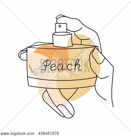 Line Art Perfume With Abstract Shapes, Peach Slices Inside The Bottle And Named Peach. Vector Illust