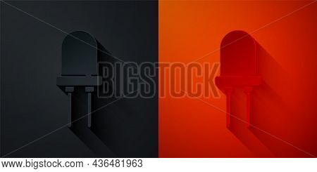 Paper Cut Light Emitting Diode Icon Isolated On Black And Red Background. Semiconductor Diode Electr