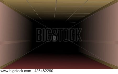 Empty Dark Hallway In The Building. The Door At The End Of The Room Is Thrown Open. Night Scene. Ill