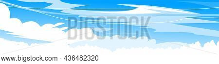 Sky Clouds Background. Illustration In Cartoon Style Flat Design. Heavenly Atmosphere. Vector.