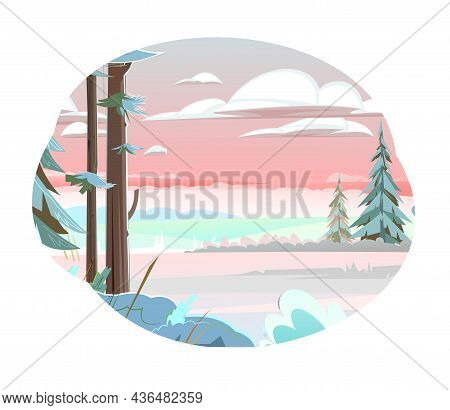 Isolated Winter Landscape. Coniferous Trees In The Snow. Beautiful Evening Or Morning Sky. Far Horiz