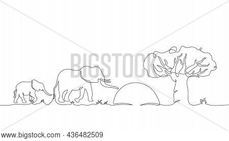 One Line Elephant. Trendy Continuous Line Minimalistic Africa Background With Exotic Wild Animals, B