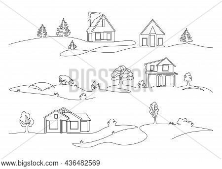 Line Village Landscape. Abstract Continuous Outline Rural House With Farm Silhouette, Doodle Nature