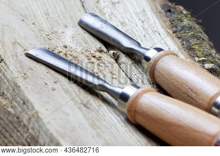 Set Of Chisels. Set Of Wood Carving Tools.instruments For Wood Carving.woodworking Tools. Tools For