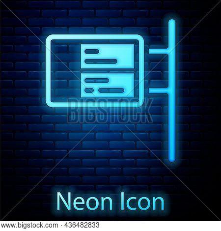 Glowing Neon Public Transport Board Icon Isolated On Brick Wall Background. Mechanical Scoreboard. I