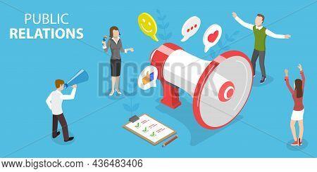 3d Isometric Flat Vector Conceptual Illustration Of Public Relations, Pr Agency Team