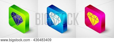 Isometric Diamond Icon Isolated On Grey Background. Jewelry Symbol. Gem Stone. Square Button. Vector
