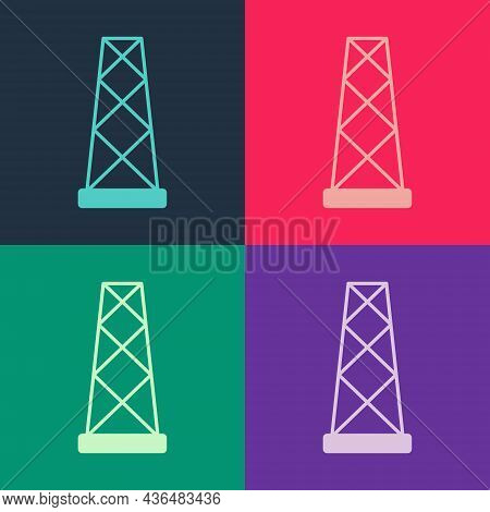 Pop Art Antenna Icon Isolated On Color Background. Radio Antenna Wireless. Technology And Network Si