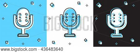 Set Microphone Icon Isolated On Blue And White, Black Background. On Air Radio Mic Microphone. Speak