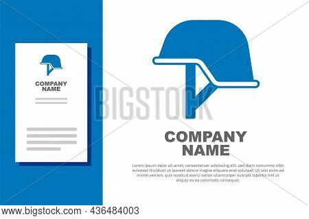 Blue Military Helmet Icon Isolated On White Background. Army Hat Symbol Of Defense And Protect. Prot