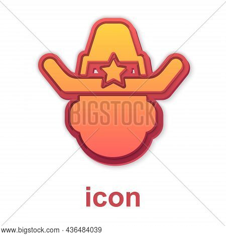 Gold Sheriff Cowboy Hat With Star Badge Icon Isolated On White Background. Police Officer. Vector