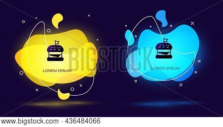 Black Burger Icon Isolated On Black Background. Hamburger Icon. Cheeseburger Sandwich Sign. Fast Foo