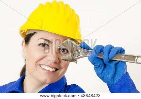Woman Holding Adjustable Wrench