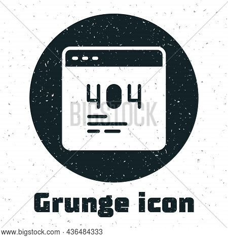 Grunge Page With A 404 Error Icon Isolated On White Background. Template Reports That The Page Is No