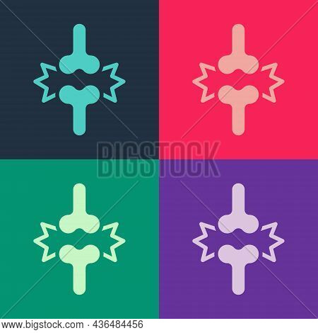 Pop Art Joint Pain, Knee Pain Icon Isolated On Color Background. Orthopedic Medical. Disease Of The