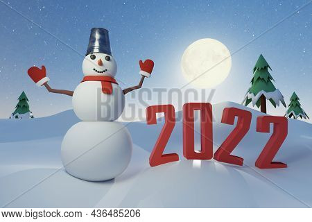Snowman Poses With The Number 2022 On New Year's Eve Against The Of A Full Moon - 3d Render
