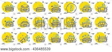 Sports Stadium Line Icons. Ole Chant, Arena Football, Championship Architecture. Arena Stadium, Spor