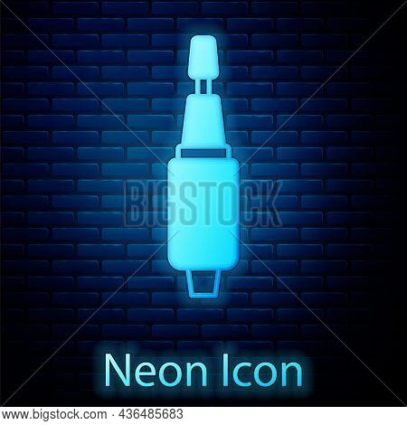 Glowing Neon Milling Cutter For Manicure Icon Isolated On Brick Wall Background. Apparatus For Manic