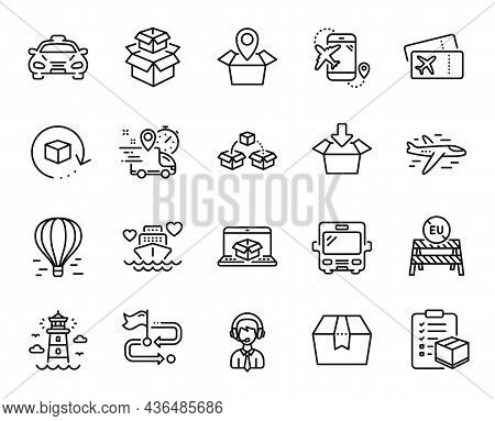Vector Set Of Return Package, Parcel Shipping And Packing Boxes Line Icons Set. Package Location, Fl