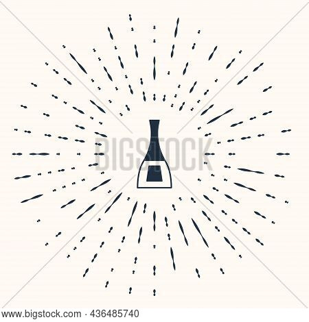 Grey Bottle Of Nail Polish Icon Isolated On Beige Background. Abstract Circle Random Dots. Vector