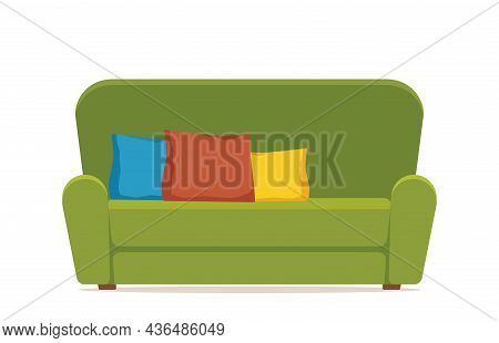 Cozy Green Sofa With Colorful Pillows. Comfortable Couch. Furniture For Living Room. Soft Seat. Colo