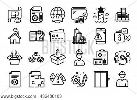 Vector Set Of Send Box, Strategy And Global Engineering Line Icons Set. Calendar Report, Money Walle