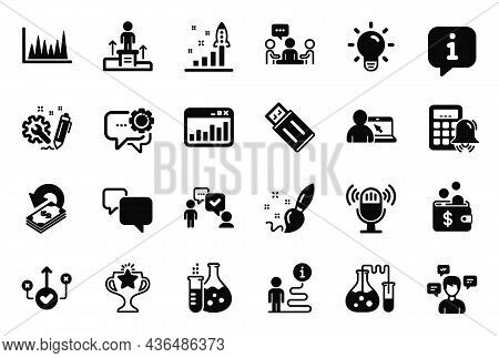 Vector Set Of Education Icons Related To Cashback, Employees Messenger And Calculator Alarm Icons. P