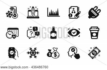 Vector Set Of Freezing, Financial App And Bitcoin Icons Simple Set. Line Graph, Select User And Elec