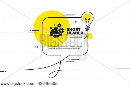 Engineering Working Process Icon. Continuous Line Idea Chat Bubble Banner. Engineer Or Architect Hel