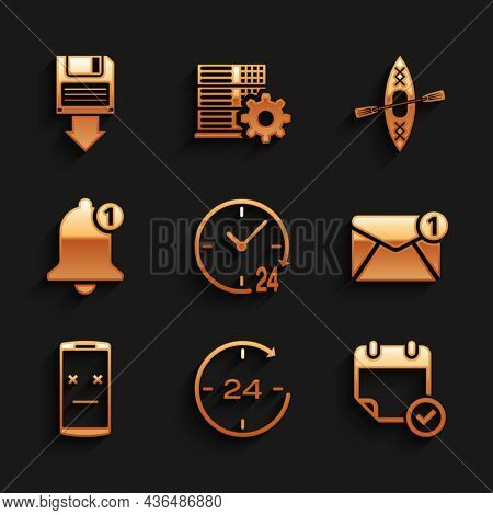 Set Clock 24 Hours, , Calendar With Check Mark, New, Email Incoming Message, Dead Mobile And Bell Ic