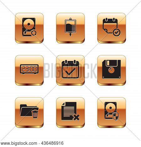 Set Hard Disk Drive Hdd Sync Refresh, Delete Folder, File Document, Calendar With Check Mark, Digita
