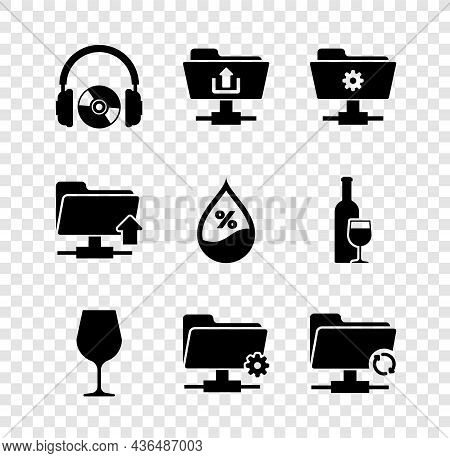Set Headphones And Cd Or Dvd, Ftp Folder Upload, Settings, Wine Glass, And Sync Refresh Icon. Vector