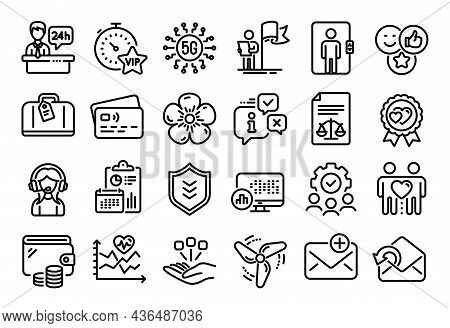 Vector Set Of Leadership, Consolidation And Wind Energy Line Icons Set. Calendar Report, Money Walle