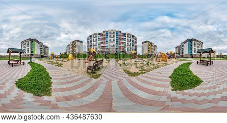 360 Hdri Panorama Near Playground In Middle Of Modern Multi-storey Multi-apartment Residential Compl