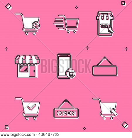 Set Add To Shopping Cart, Mobile And Shopping, Market Store, Signboard Hanging, With Check Mark And