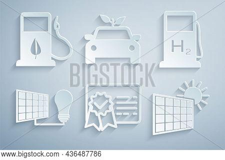Set Certificate Template, Hydrogen Filling Station, Solar Energy Panel And Light Bulb, Sun, Eco Car