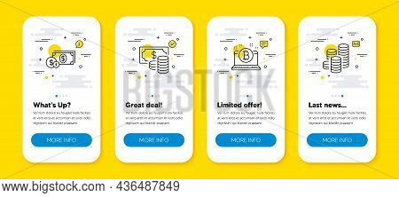 Vector Set Of Dollar Money, Bitcoin And Coins Banknote Line Icons Set. Ui Phone App Screens With Lin