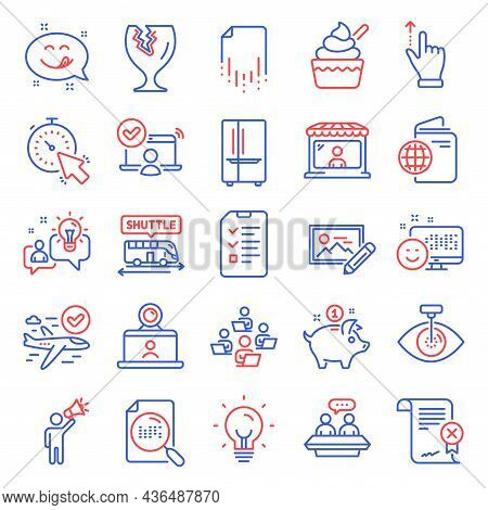 Business Icons Set. Included Icon As Search File, Travel Passport, Photo Edit Signs. Video Conferenc