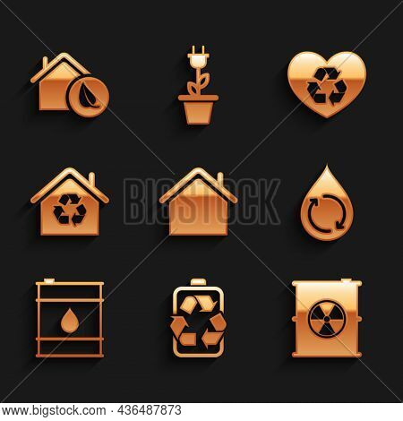 Set House, Battery With Recycle, Radioactive Waste In Barrel, Recycle Clean Aqua, Oil, Eco Recycling