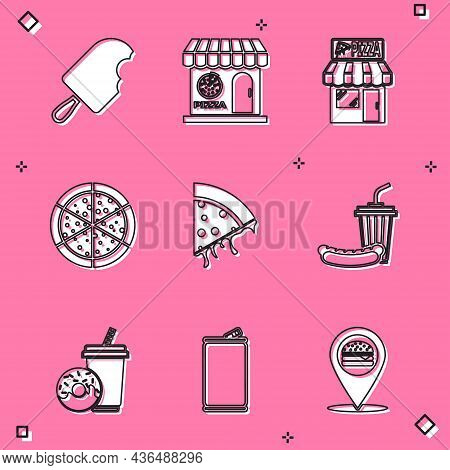 Set Ice Cream, Pizzeria Building Facade, Pizza, Slice Of Pizza, Soda And Hotdog, Drink With Donut An