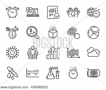 Vector Set Of Alarm Clock, Chemistry Lab And Time Line Icons Set. Currency Audit, Gpu And Group Icon