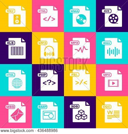 Set Doc File Document, Mp4, Wav, Wma, Mp3, Xls, And Icon. Vector