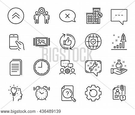 Vector Set Of Swipe Up, Global Insurance And Copy Files Line Icons Set. Loan House, Development Plan