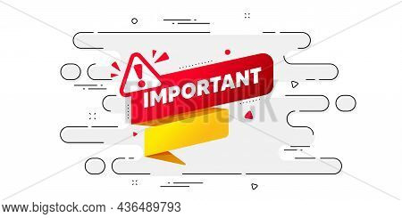 Important Paper Banner. Geometric Ad Banner On Flow Pattern. Attention Message Tag. Warning Exclamat