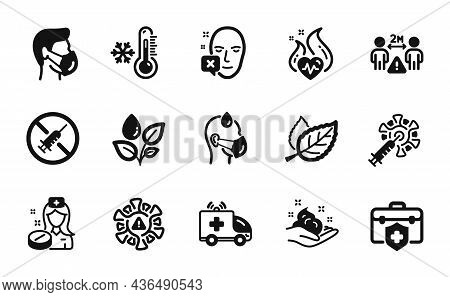 Vector Set Of Plants Watering, Coronavirus And Sick Man Icons Simple Set. Leaf, Ambulance Car And Me