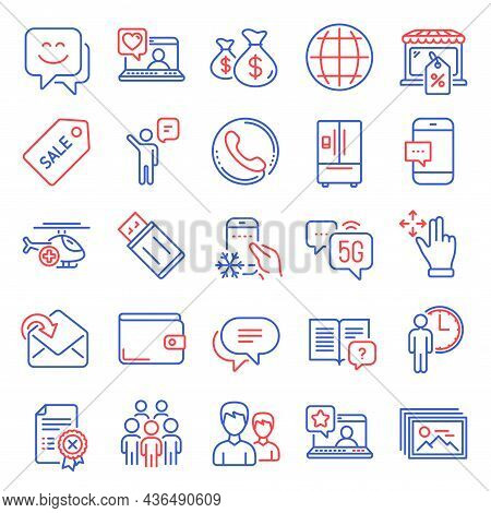Business Icons Set. Included Icon As Waiting, Move Gesture, Reject Certificate Signs. Agent, Call Ce