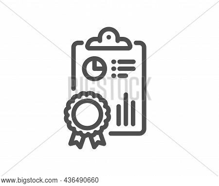 Inspect Line Icon. Quality Research Sign. Verification Report Symbol. Quality Design Element. Line S