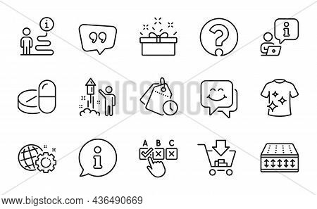 Business Icons Set. Included Icon As Clean T-shirt, Seo Gear, Shopping Signs. Time Management, Quote